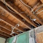 open ceiling during a renovation showing wiring